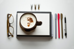 Why I Write - Tea with Cinnamon, Journal, Glasses, Flat Lay
